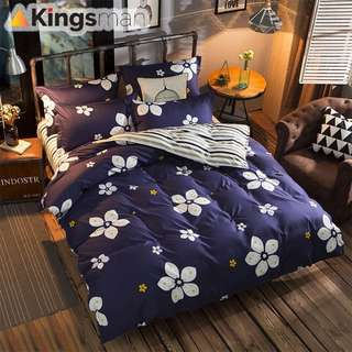 [Kingsman] Flower Design Printing 4 in 1 Cotton Premium Soft Bed Sheet Cover Set