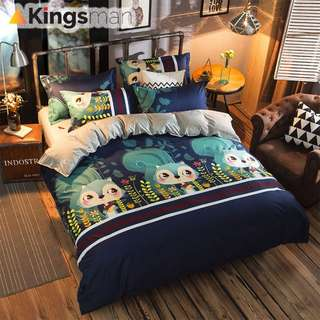 [Kingsman] Chipmunk Design Printing 4-1 Cotton Premium Soft Bed Sheet Cover Set
