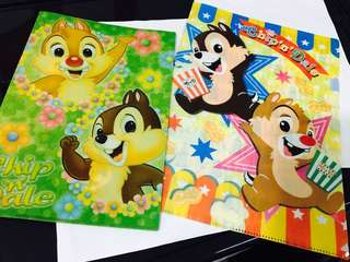 迪士尼 Disney 大鼻 鋼牙 Chip n Dale 可愛 Popcorn A4 A5 文件夾 File 絕版 全新
