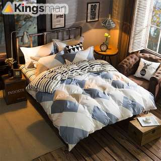 [Kingsman] Tiles Design Printing 4 in 1 Cotton Premium Soft Bed Sheet Cover Set