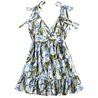 PRE ORDER Floral Print High Waisted Ruffles Dress