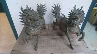 Vintage brass qilin 麒麟 (selling as a pair)