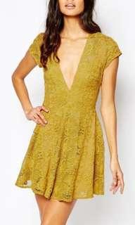 Mustard lace dress romper