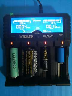 XTAR Dragon VP4 Plus Lithium 3.6v 3.7v 14500 18650 26650 / NICAD NiMH 1.2v AA AAA C D / 11.1v 3SxP Battery Pack Charger with built-in internal resistance ohm tester. For Charging Zhiyun, Cree Torch light, Head lights, Drone