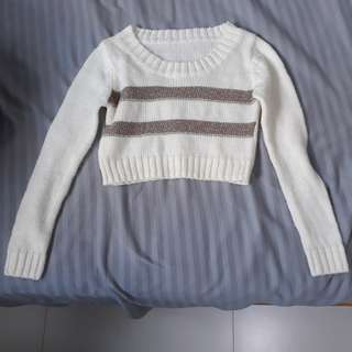 Gold and cream crop knit sweater