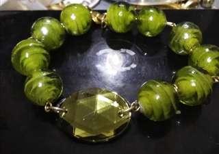 Glass stone with design bracelet