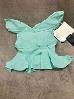 Mint Peplum Cropped Top