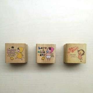 ALL FOR $6.50, Korean Pony Brown Stamp Bundle, Motivational Korean Rubber Stamps