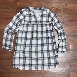 麻紗格紋童洋裝8-10歲