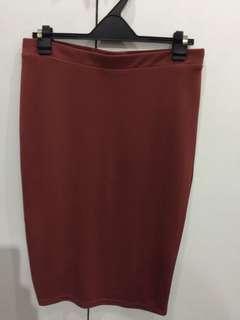 Forever 21 orange pencil skirt