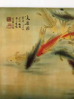 Lacquered wood panel with koi fishes