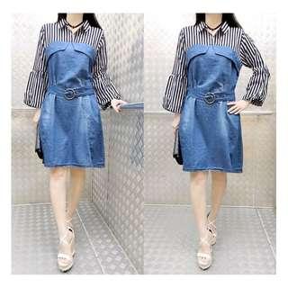 Womans Fashion Blue Strip Clothes