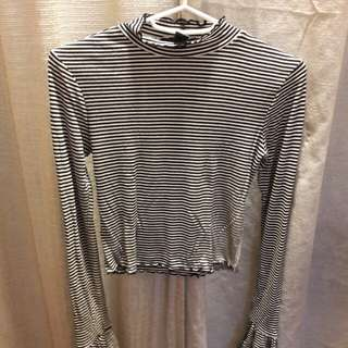 Forever 21 top with bell sleeves. Semi crop