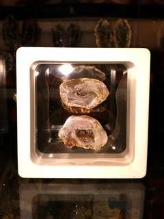 天然水晶洞原石 迷你聚寶盆套裝A款全套連展示盒 瑪瑙蛋 雷公蛋