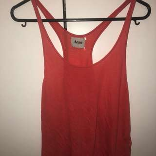 ACNE red racerback singlet