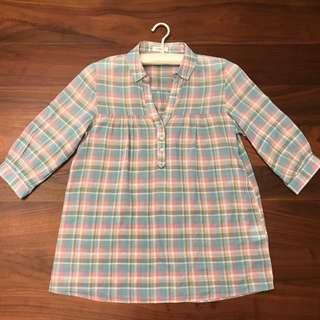 🚚 日系清新藍粉紅七分袖襯衫