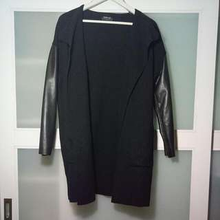 Zara Black Knit Spring/Autumn Coat With Leather Sleeves