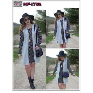 CODE: MF-1752 2 in 1 Terno (Stripe Dress + Crepe Coat)