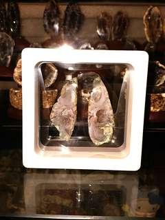 天然水晶洞原石 迷你聚寶盆C款全套連展示盒 瑪瑙蛋 雷公蛋
