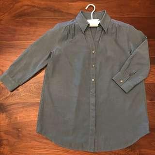 🚚 藍綠氣質直條紋上衣