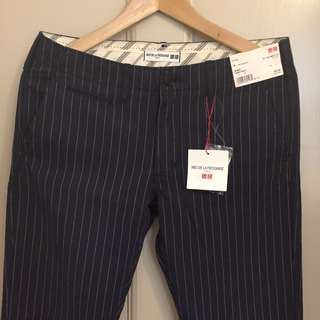 BNWT Uniqlo IDLF Paris Collection Stripped Navy Chinos