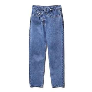 🚚 設計款不規則扣牛仔褲
