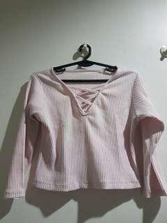 Pink longsleeve crop-top