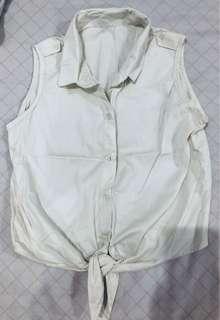 White Sleeveless Polo
