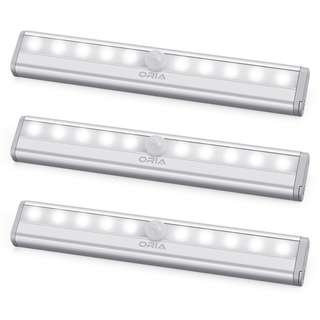 70.ORIA Motion Sensor Light, 10 LED Sensing Closet Light, Battery Powered Stick-Anywhere Stairs Light, Night Light, Wall Light, Security Safe Light for Bathroom, Cabinet, Wardrobe, Basement (Pack of 3)