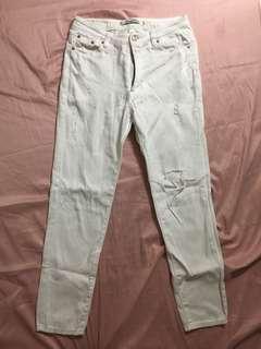 Distressed White high waist pants waistline 28