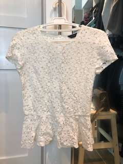 Authentic Topshop peplum lace blouse - excellent condition