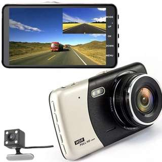 Car Camera (Ready Stock) - Front & Rear, Night Vision, Large 4 Inch LCD, Motion Detection, Loop Recording