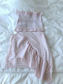 Lulu & Rose Shirred Bodice & Ruffle Mini Skirt, Pink Gingham Print, XS/XXS