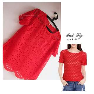 NEW Red perforated top