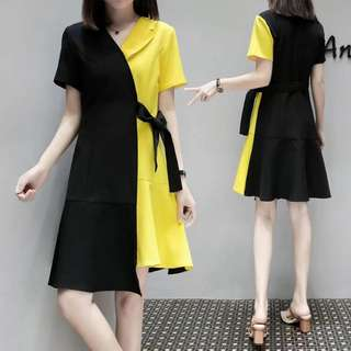 (XL~5XL) 2018 Women's Korean fashion loose hit color stitching A word dress
