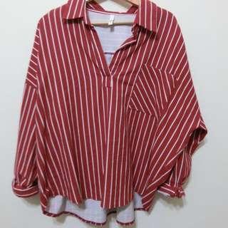 正韓 直條磚紅色襯衫