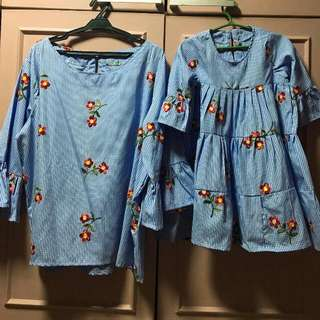 Matchy Matchy Gingham Blouse And Dress For Mom And Daughter (Btandd New)