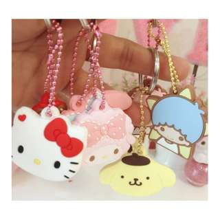 SANRIO 2PCS KEYCHAIN*KEY HOLDER*SILICONE*FANC*MOBILE CHAIN*BAG CHARM*POUCH*SAMSUNG*IPHONE*DIY*