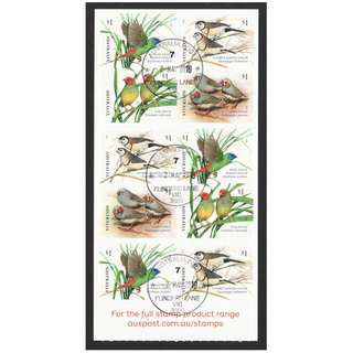 AUSTRALIA 2018 FINCHES BIRDS SELF ADHESIVE BOOKLET OF 10 STAMPS IN FINE USED CONDITION