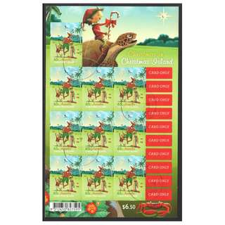 AUSTRALIA CHRISTMAS ISLAND 2017 $0.65 CHRISTMAS RUDOLF SELF ADHESIVE SOUVENIR SHEET OF 10 STAMPS IN FINE USED CONDITION
