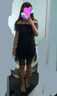Zann black lacy mesh dress