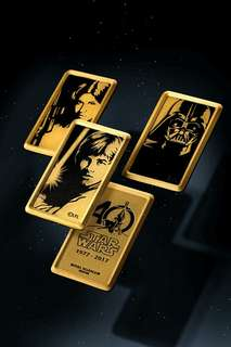 Limited edition Star Wars 40th Anniversary Gilt tokens set.