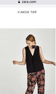 Zara Black V Neck Top