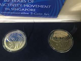 Singapore 20 Years Of Productivity Movement in Singapore $5 Commemorative 2-Coin Set Year 2001