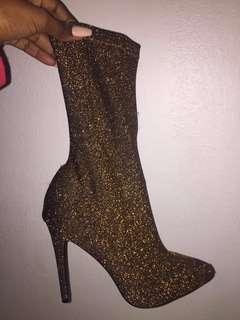 Bronze Glitter Boots