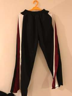 BRAND NEW Black with white and red stripes slit pants
