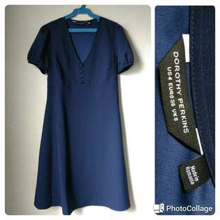 Navy Button Fit & Flare Dress