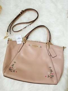 Authentic Coach Kelsey Satchel in Floral Nude Pink