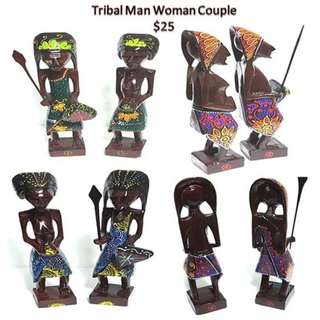 Tribal Couple man woman figurine
