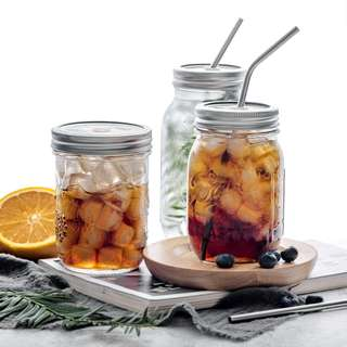 [One Set] Mason Jar with Stainless Steel Straw and Jar Cover